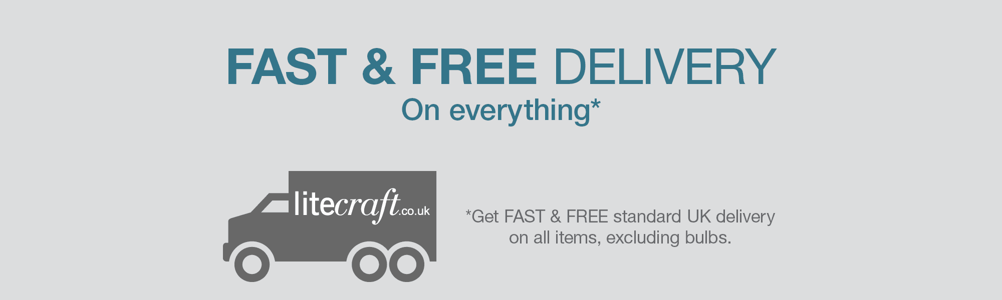 FAST & FREE Standard UK Delivery on All Items. Excluding Bulbs