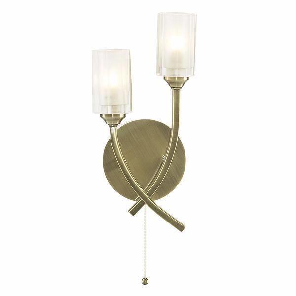 Octi 2 Light Antique Brass Wall Light