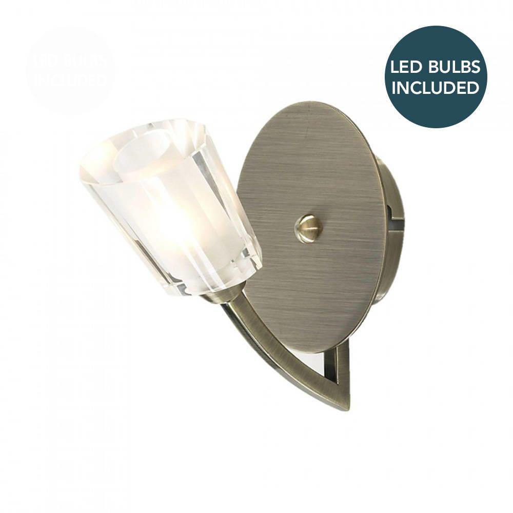 Litecraft Kay Antique Brass Glass Wall Light With LED Bulbs