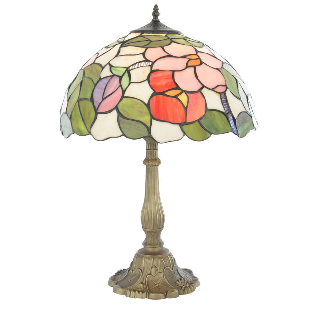 Floral 16 Inch Antique Brass Table Lamp Multi Coloured Shade
