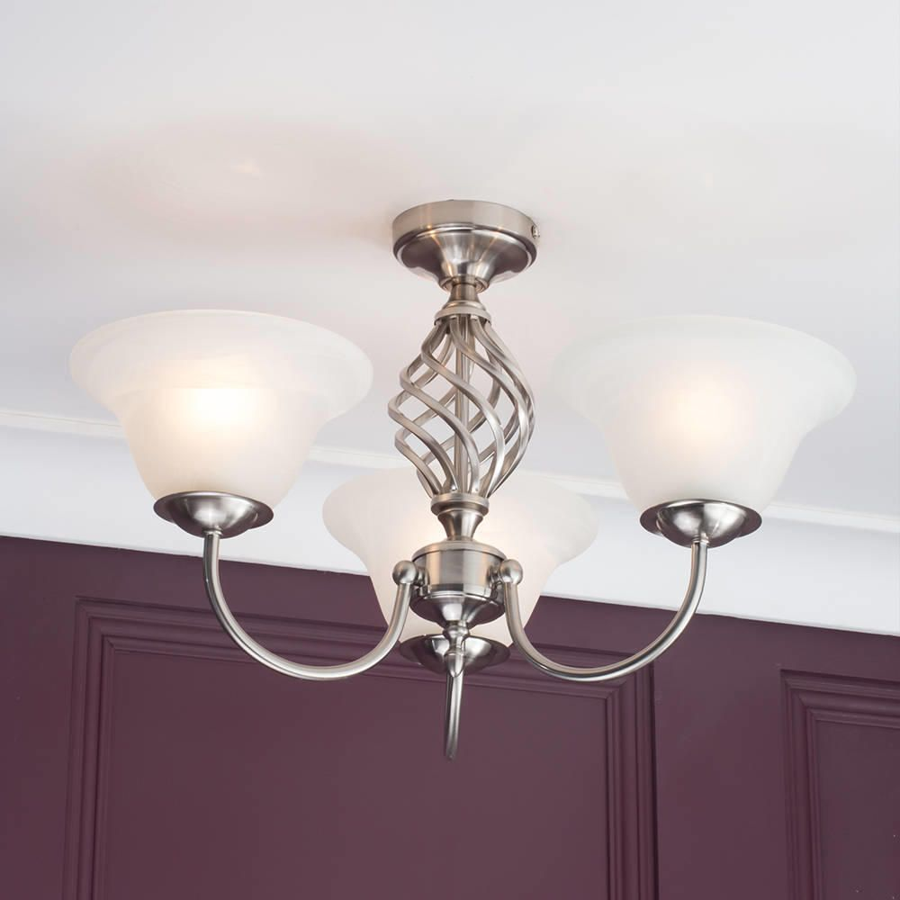 Chrome spiral ceiling lights : Spiral flush ceiling light frosted glass shades