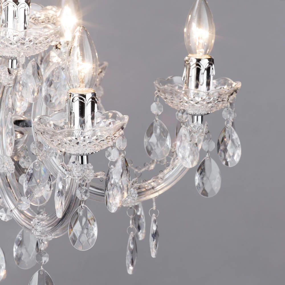 Chrome Nine Light Crystal Effect Chandelier Modern Home