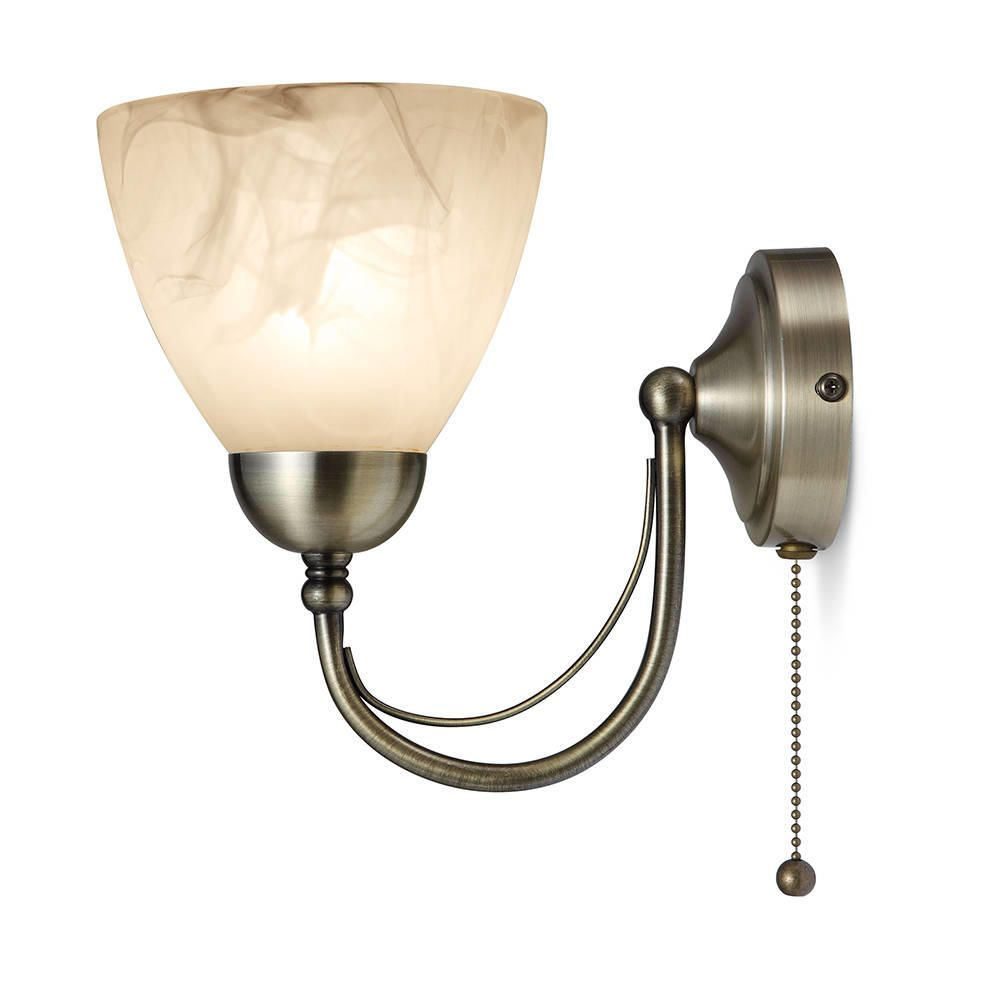 Barcelona 1 Light Pull Cord Wall Light - Antique Brass from Litecraft