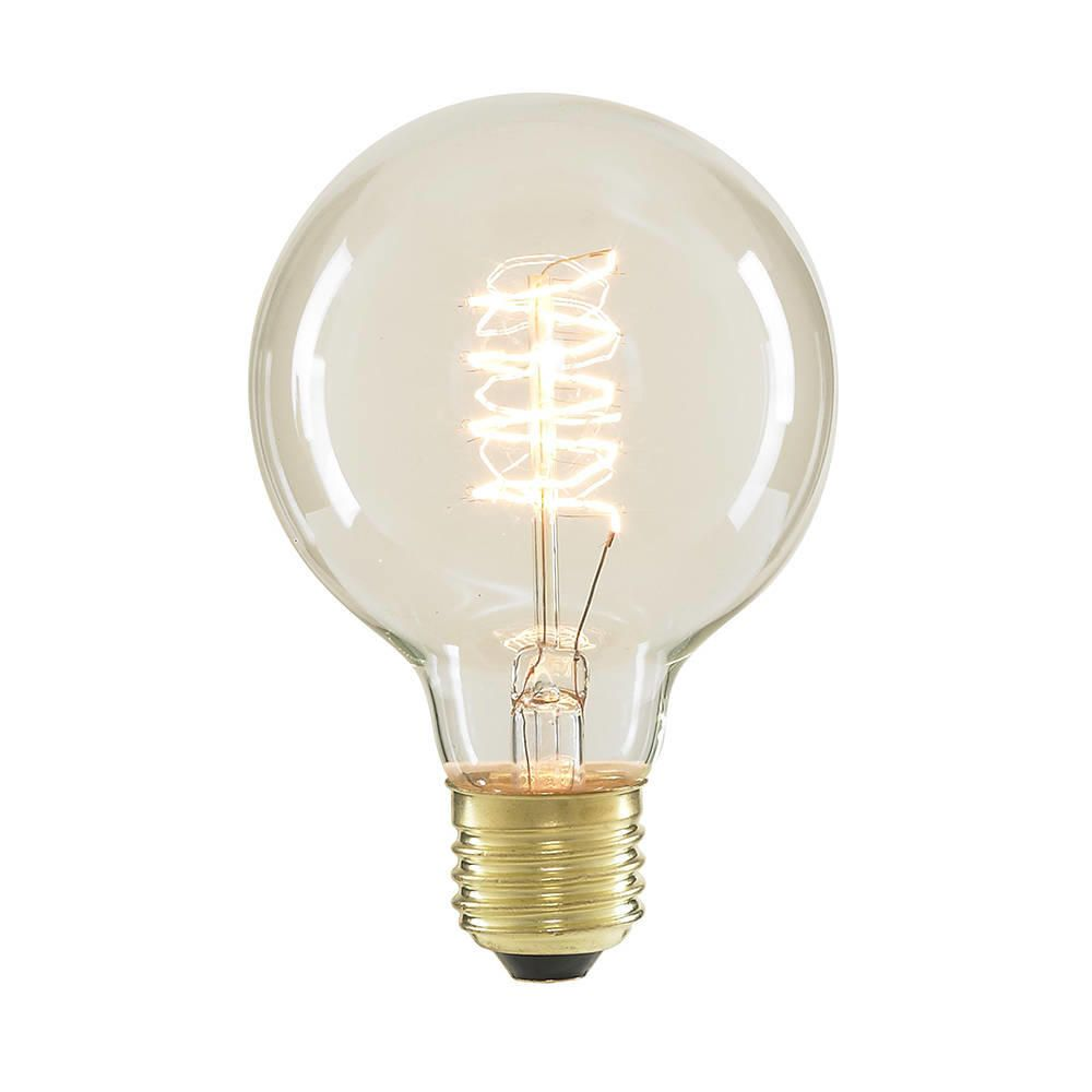 40 Watt Vintage Light Bulb Globe E27 Spiral Filament Clear
