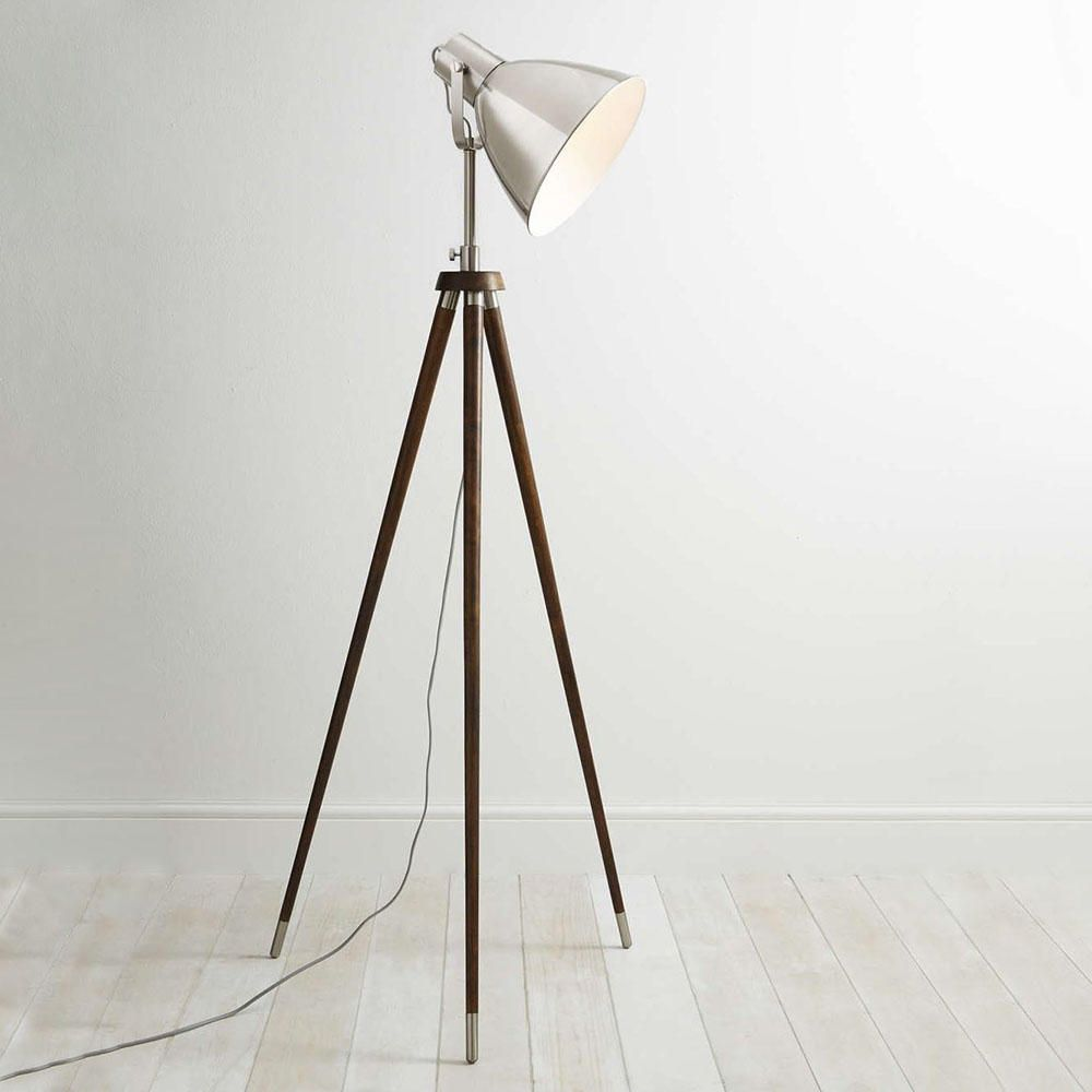 light tripod industrial style floor lamp wood satin chrome. Black Bedroom Furniture Sets. Home Design Ideas