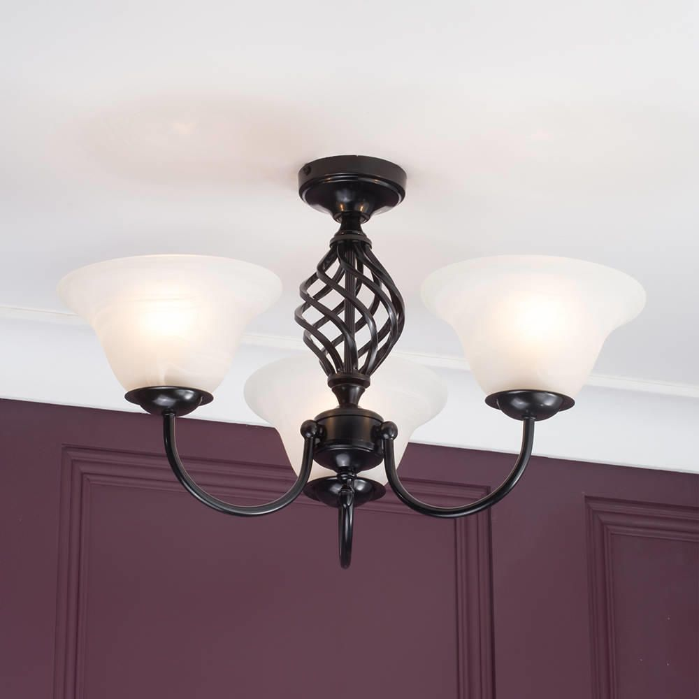Black Ceiling Lights: Spiral Flush Ceiling Light Frosted Glass Shades 3 Light
