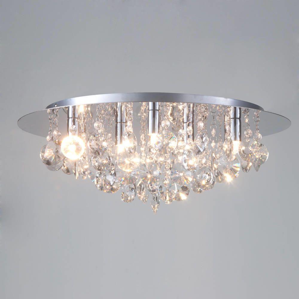 Celing Lighting: Montego Flush Ceiling Light Crystal Effect