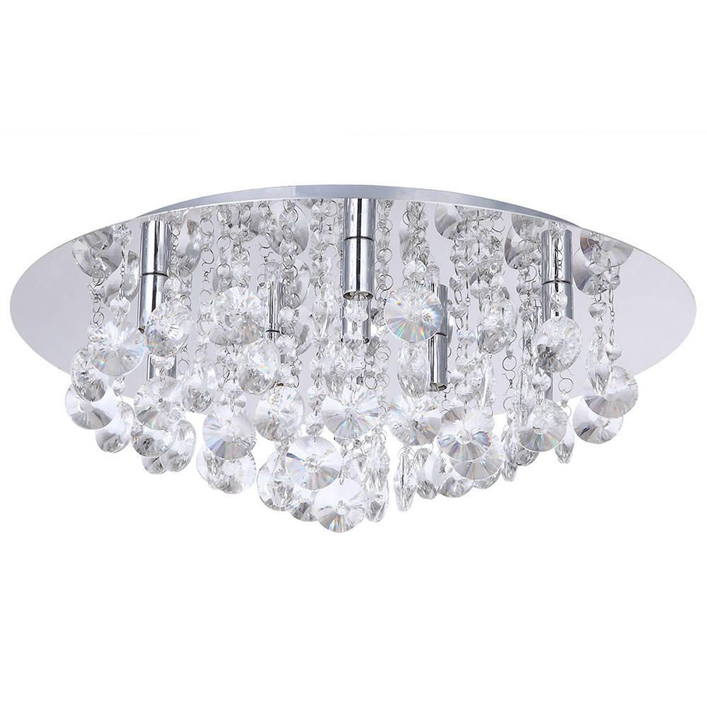 Montego Flush Ceiling Light Crystal Effect 9 Chrome