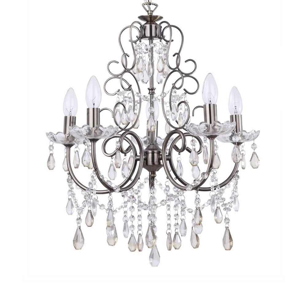 Madonna 5 Light Dual Mount Antique Brass Chandelier