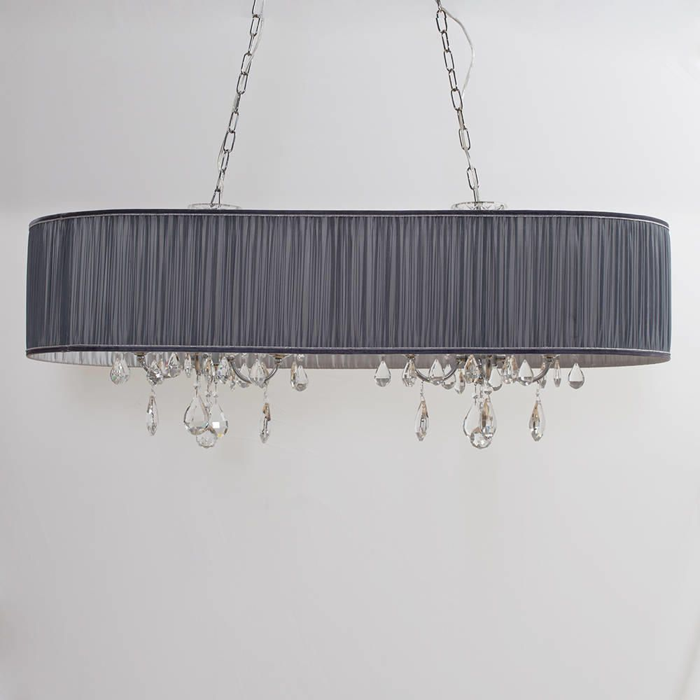 Lamour Eight Light Double Chandelier In Pleated Shade Grey From Litecraft