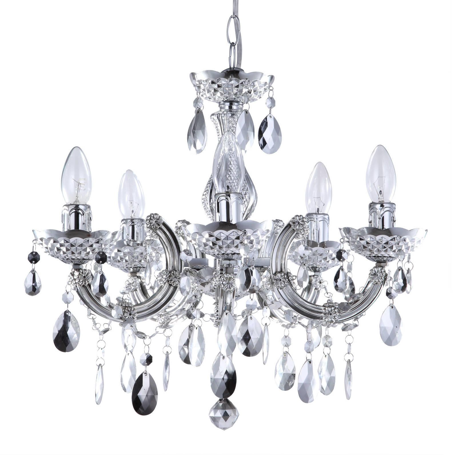 Marie Therese 5 Light Dual Mount Chandelier  Silver