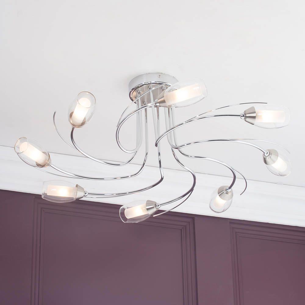 alex flush ceiling light 8 light satin chrome from litecraft