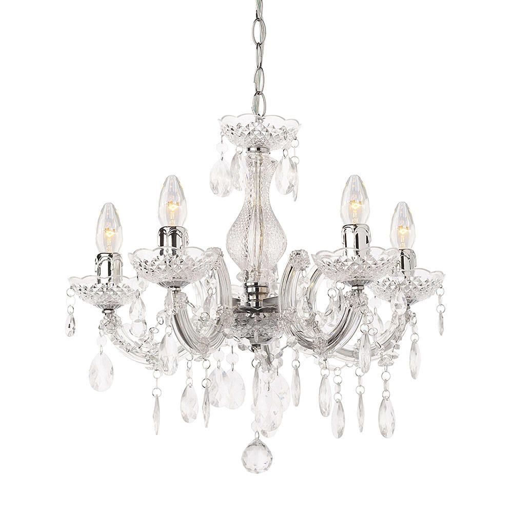 Marie Therese 5 Light Dual Mount Chandelier  Chrome