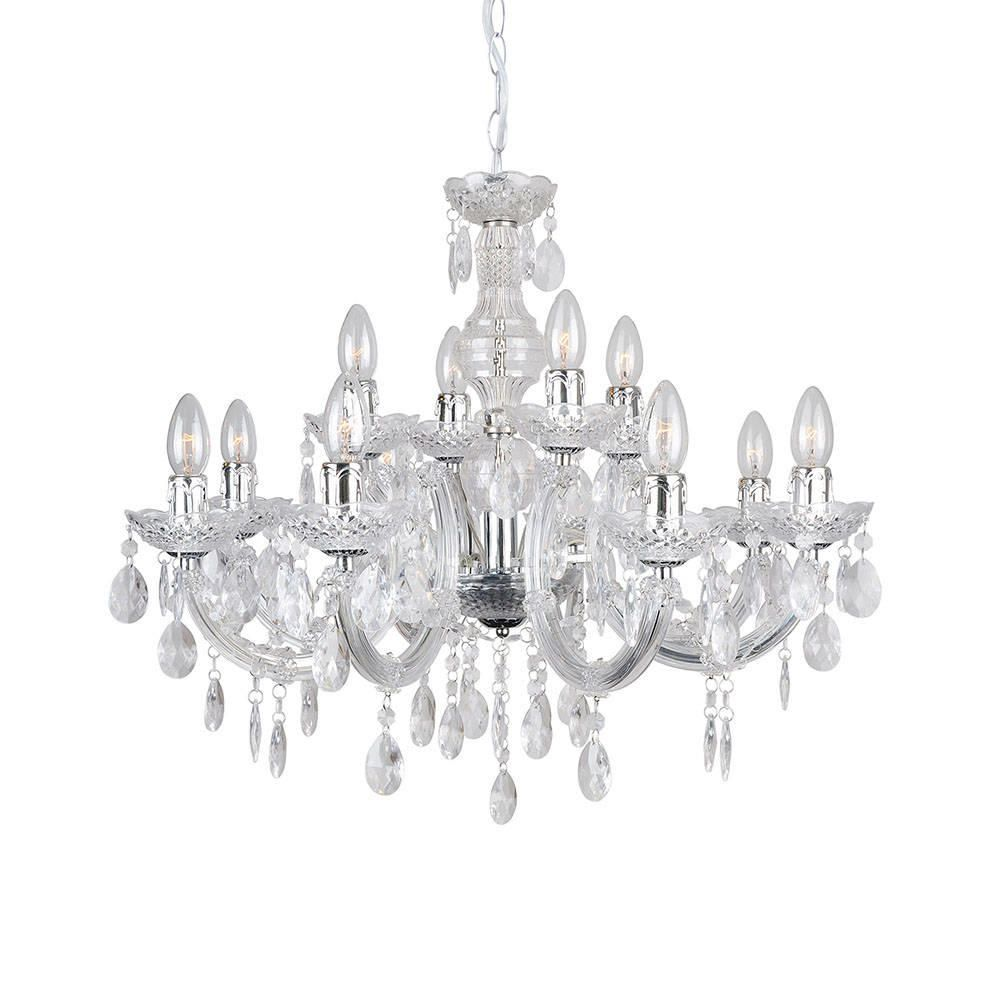 Marie Therese 12 Light Dual Mount Chandelier  Chrome