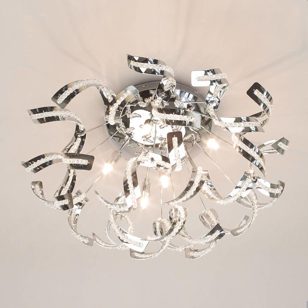Twirl Semi Flush Ceiling Light 6 Light Chrome