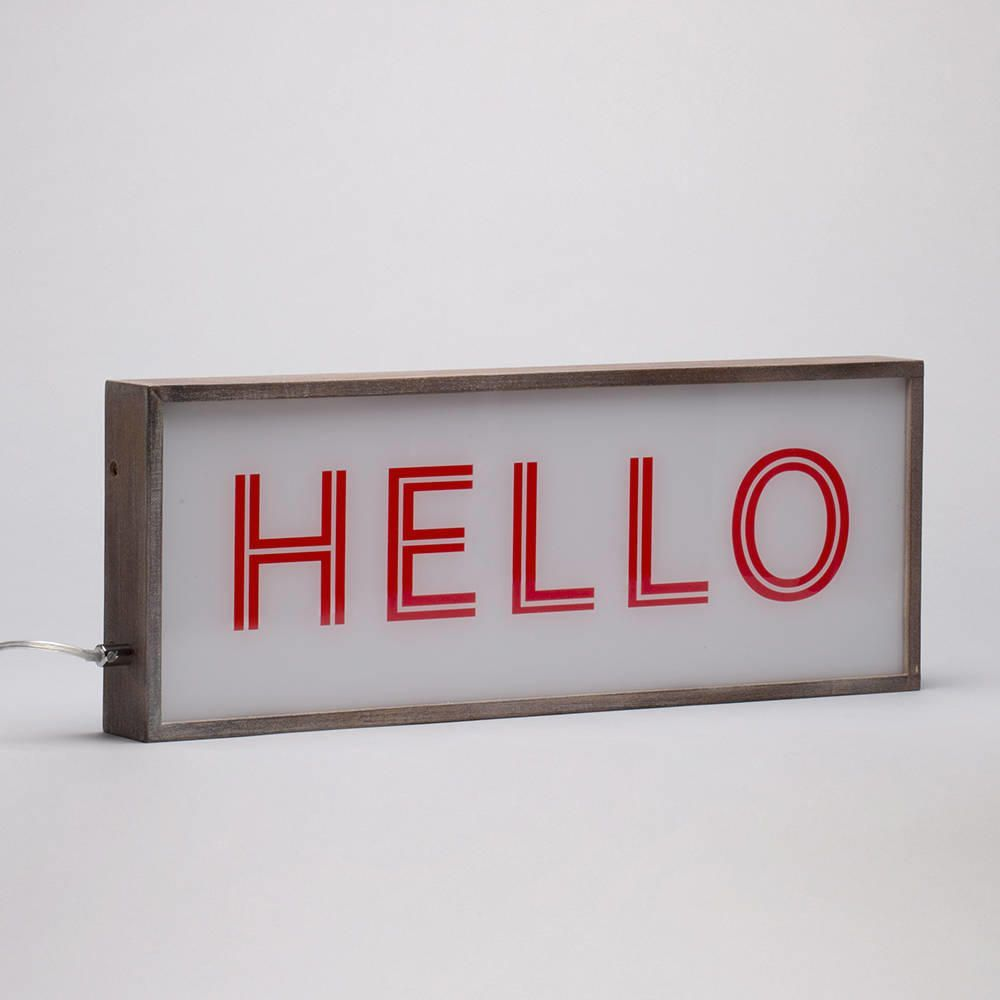 Wall Hung Light Box : Hello Light Box with Rustic Frame - Red & White from Litecraft