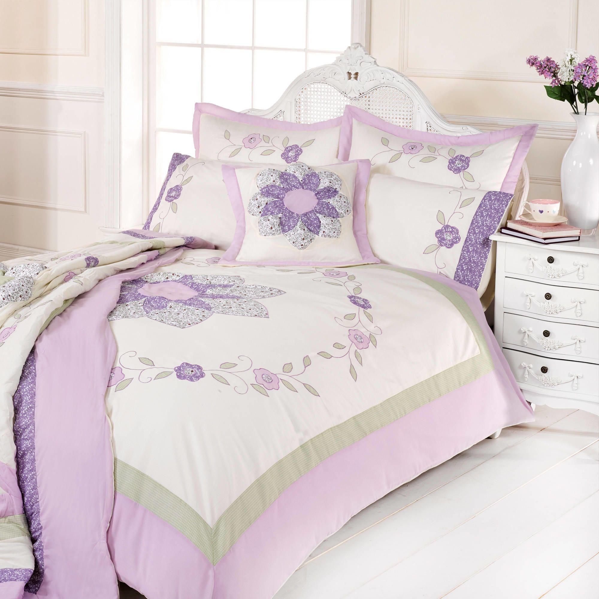 Aimee Pretty puffball lilac & green Double Duvet Set