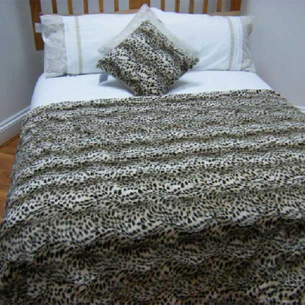 Faux Fur Brown Leopard Print Throw