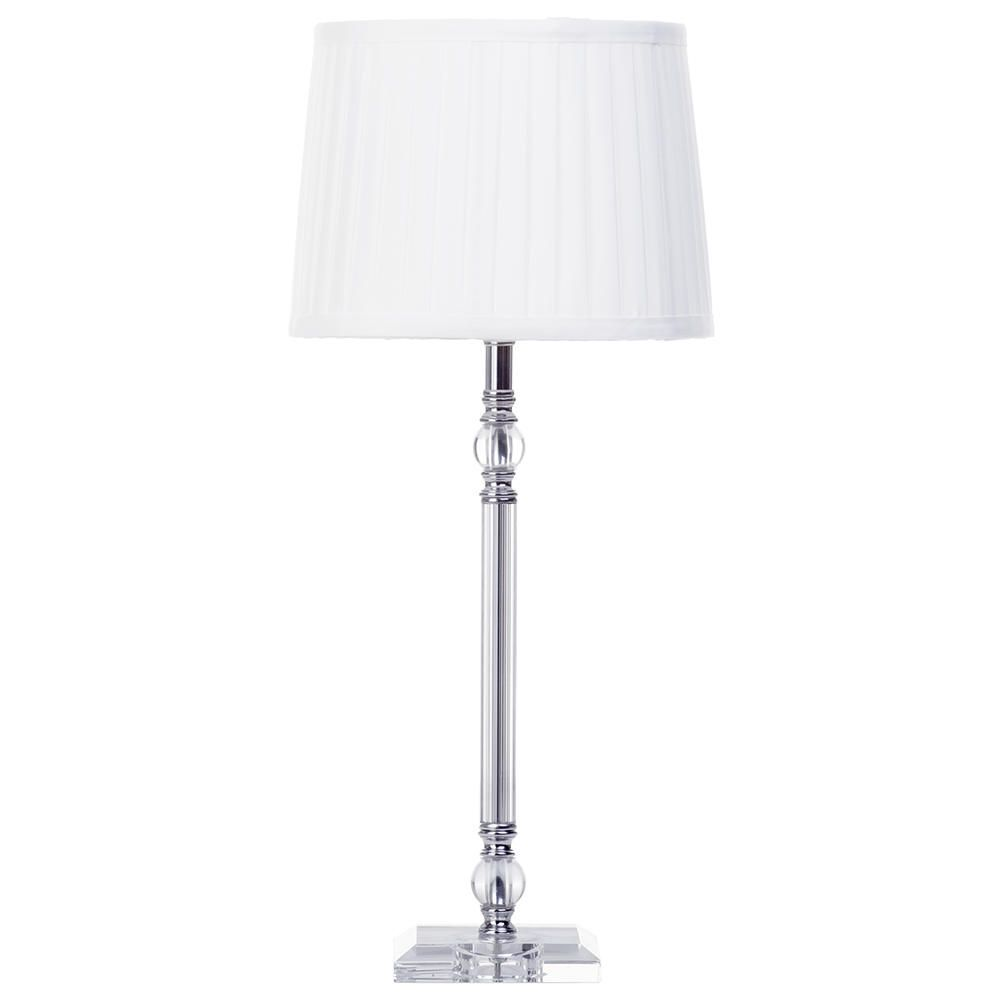 1 light glass and metal stem table lamp with white tapered for Chrome floor lamp with tapered shade silver
