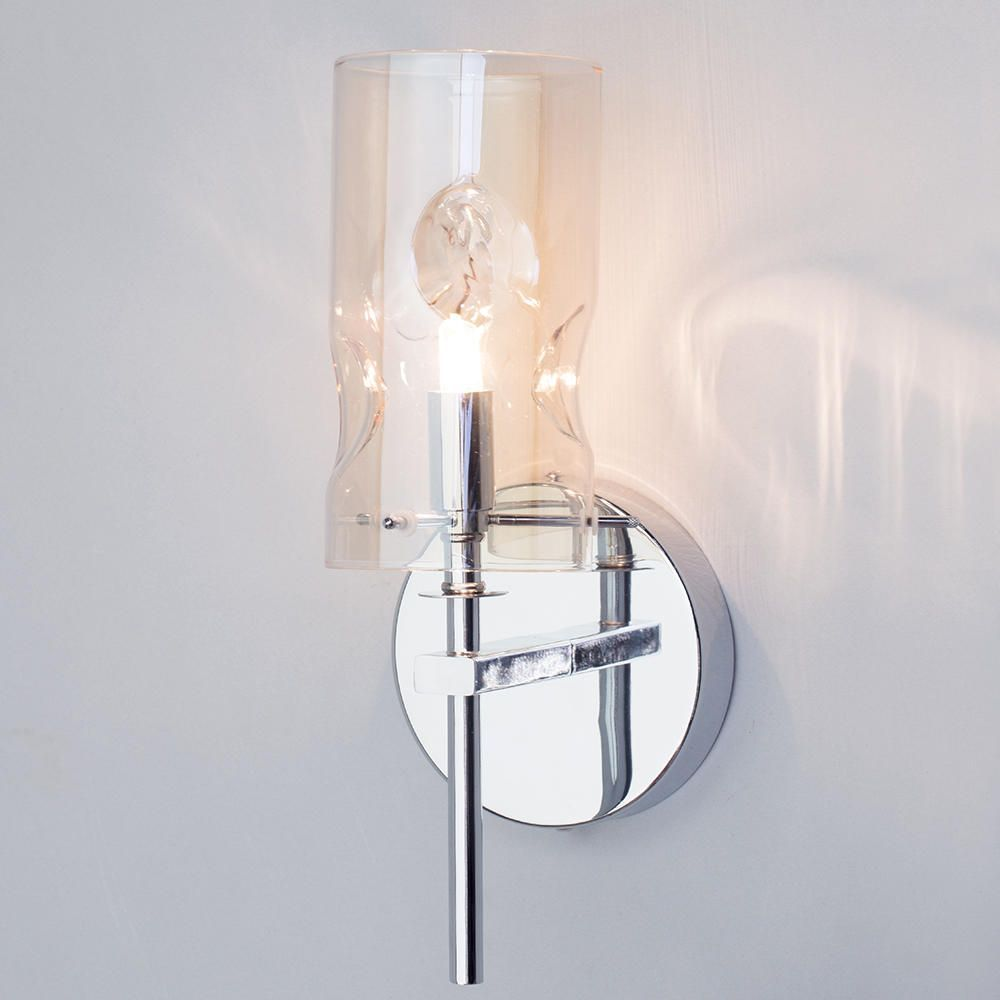 1 Light Champagne Tinted Glass Wall Light - Chrome From Litecraft
