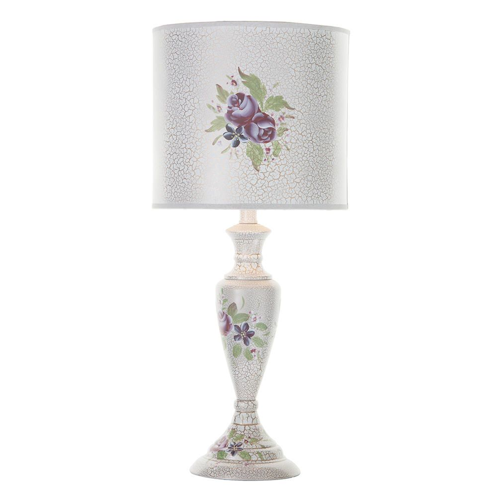 Hand Painted Table Lamp With Floral Design  White