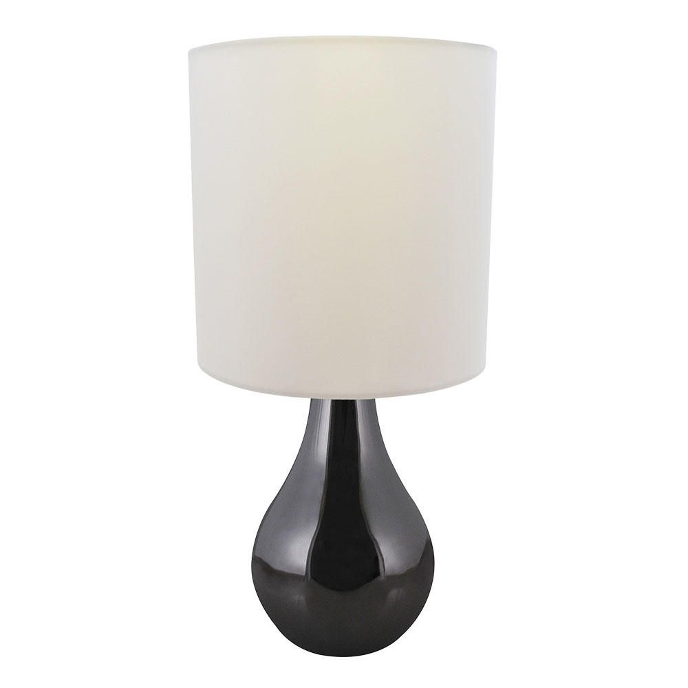 manaslu touch sensitive table lamp black chrome and white shade. Black Bedroom Furniture Sets. Home Design Ideas