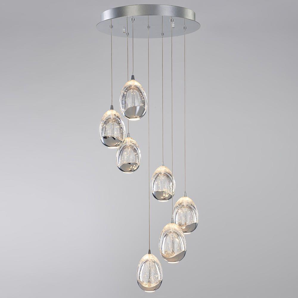 Tegg Pendant Ceiling 7 Light Led Spiral Cluster Chrome