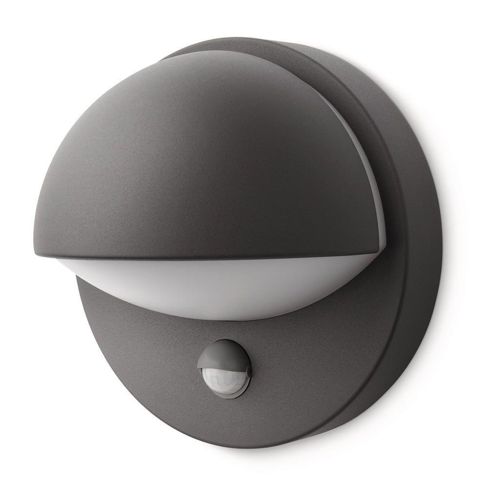 Philips June Outdoor Wall Light With Pir Sensor Dark Grey