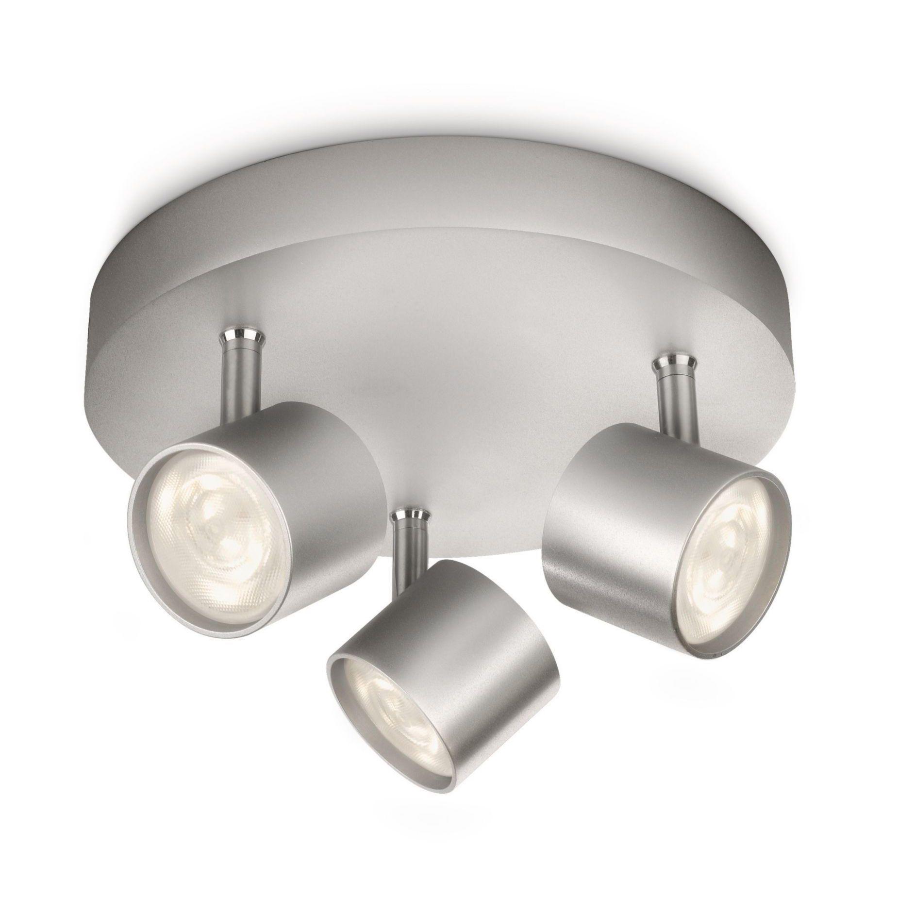 Plate LED 3 Light Aluminium Philips Star Ceiling Spotlight Plate LED