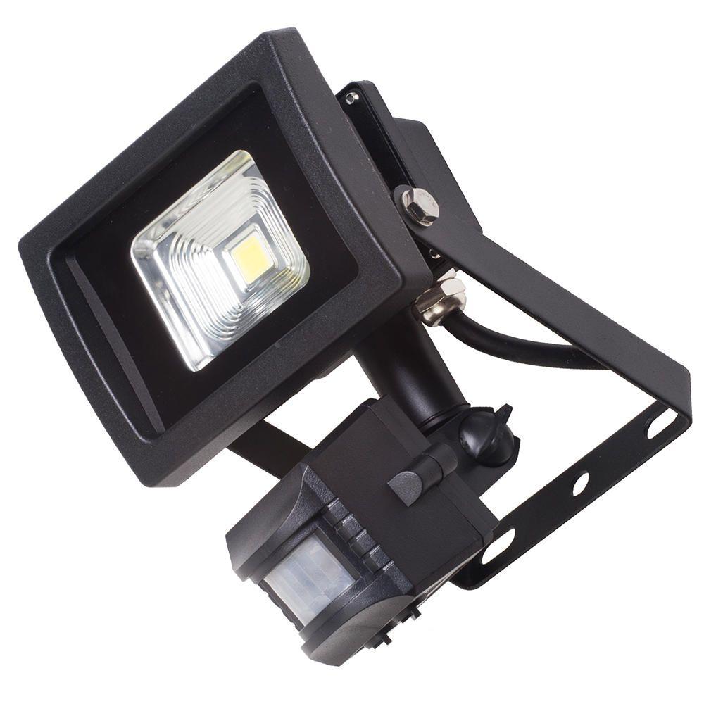Outdoor LED Floodlight With PIR Security Sensor 10 Watt Black