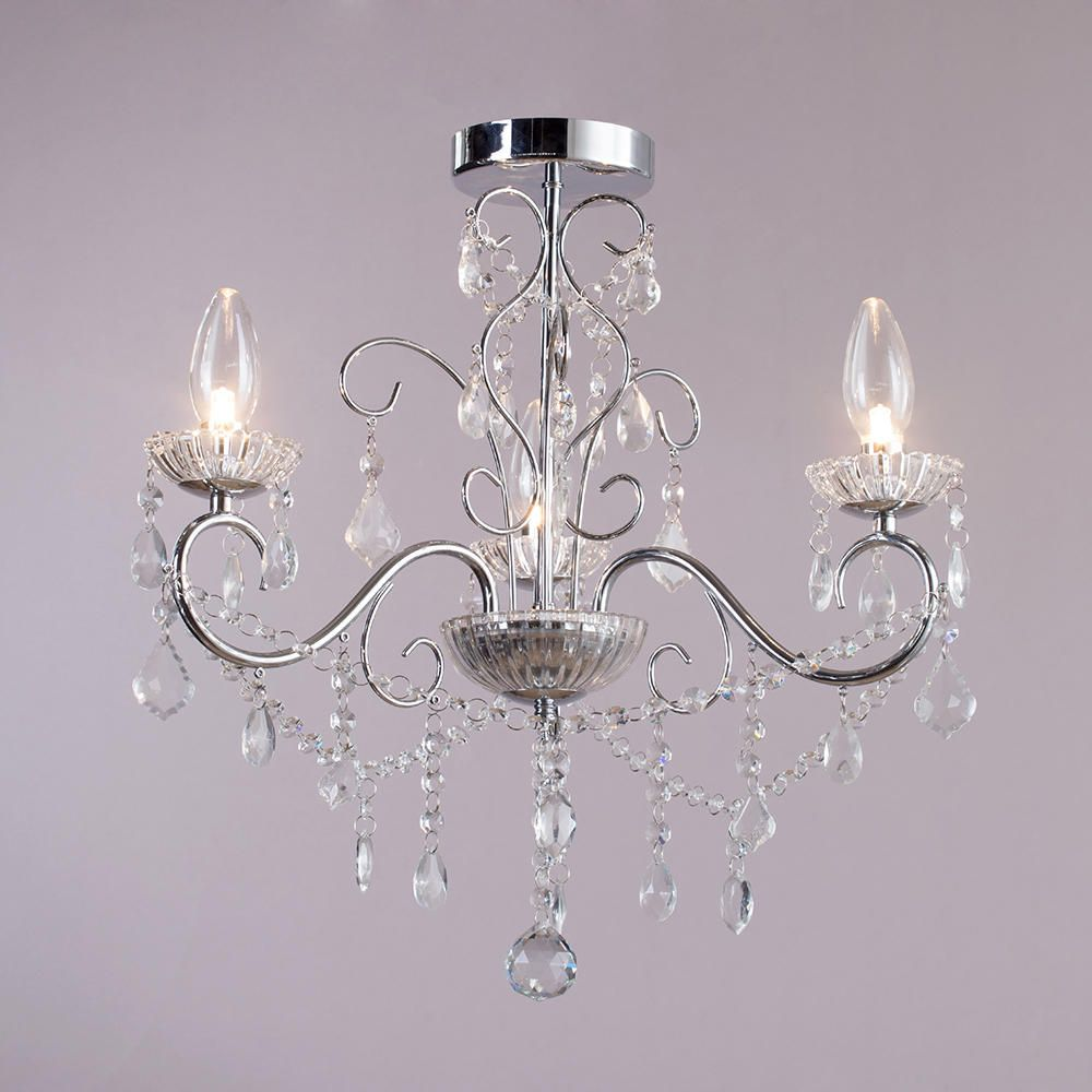 3 lt bathroom decorative curved arm crystal effect for Bathroom chandeliers
