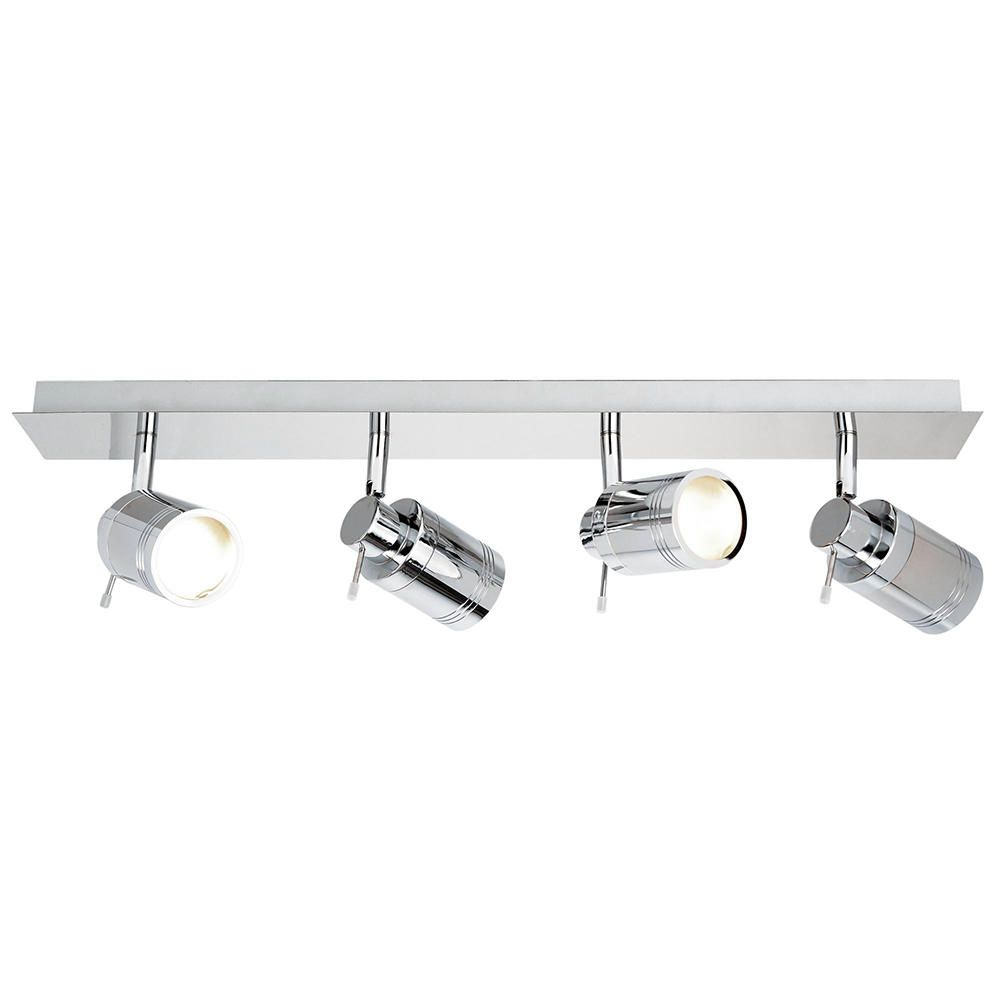 Hugo 4 Light Bathroom Ceiling Spotlight Bar - Chrome