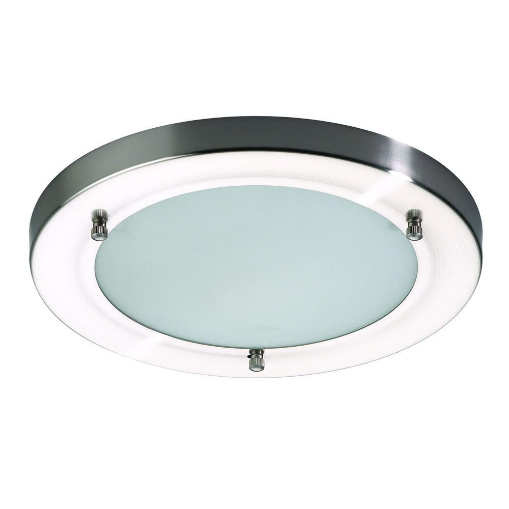 Mari bathroom ceiling large flush light stainless steel for Stainless steel bathroom lights