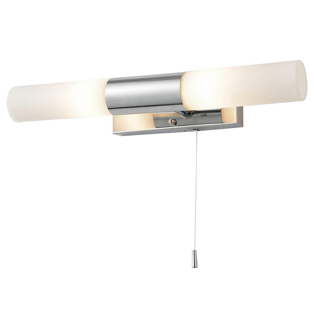 POLISHED CHROME IP44 BATHROOM WALL LIGHT WITH PULL CORD SWITCH CLEAR - Wall lights, LED bathroom ...