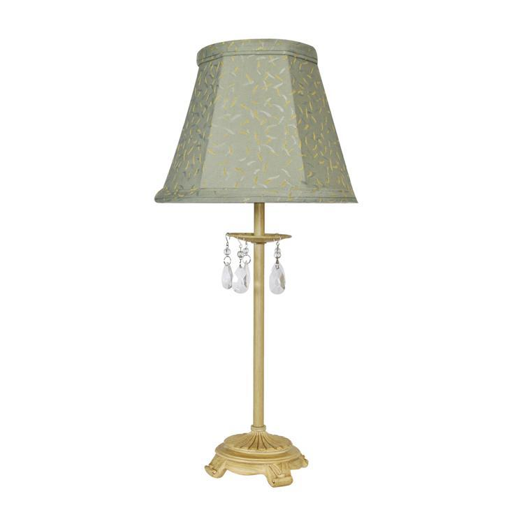 Marriot Cream Table Lamp with Green Shade
