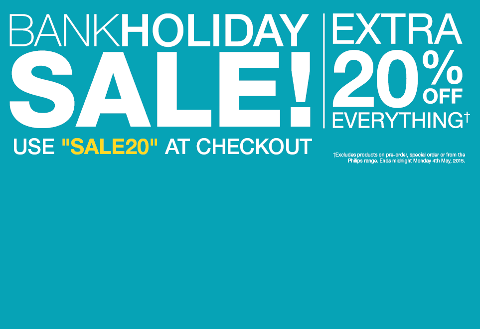 Bank Holiday Sale! Extra 20% Off Everything! Use SALE20 at checkout