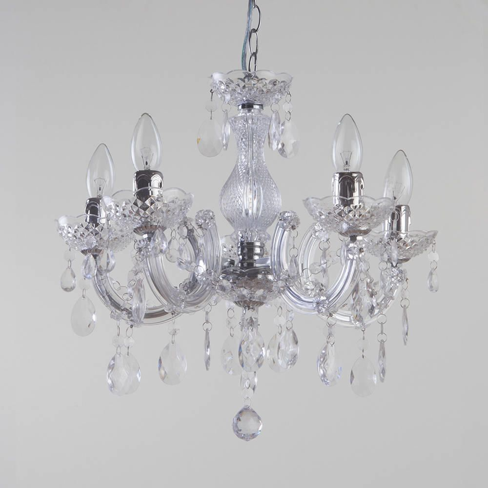 Marie Therese Wall Lights Chrome : Marie Therese Chandelier 5 Light Dual Mount - Chrome from Litecraft