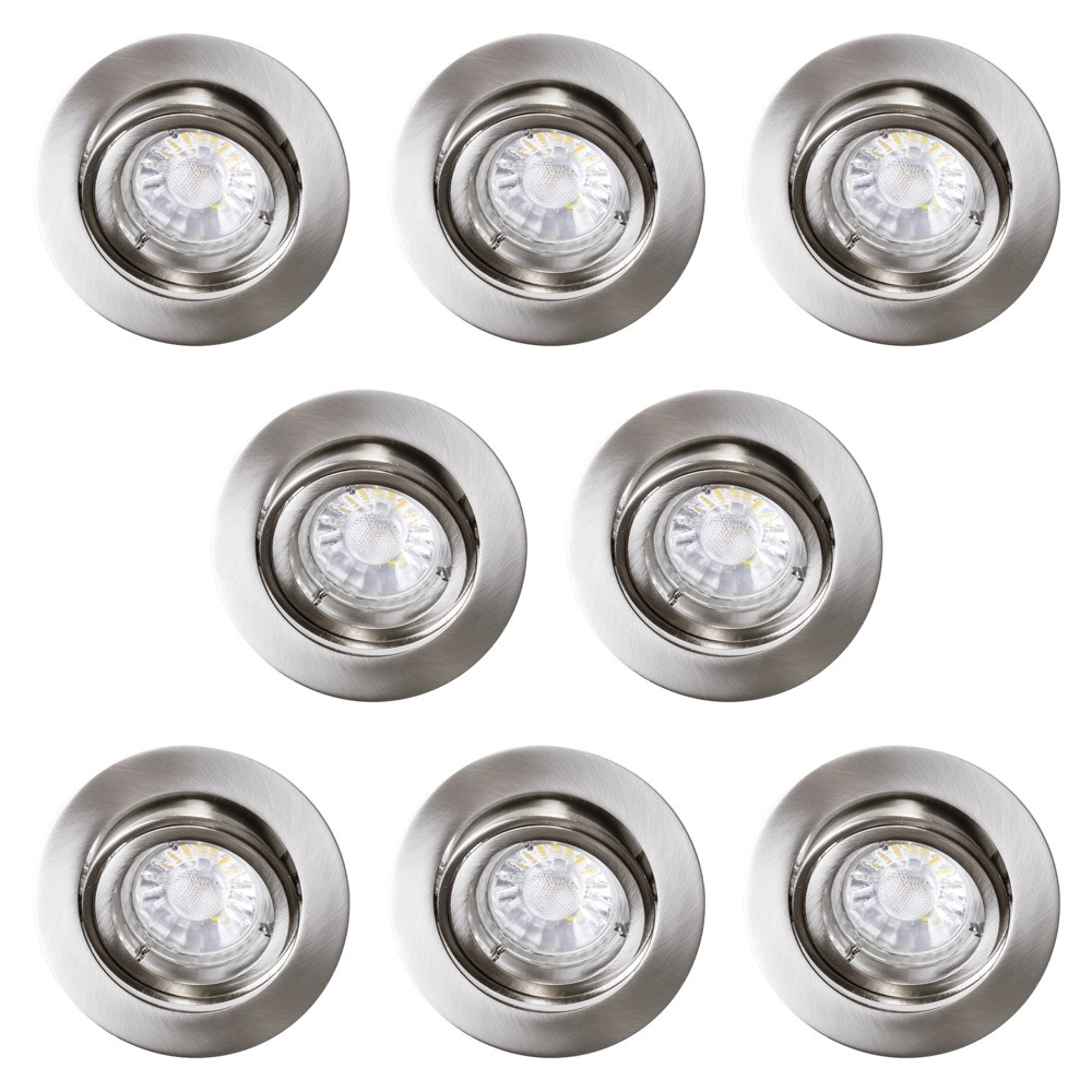 Lighting Lamps & Lights Accessories Spotlights Light Bulbs Ceiling lights 8 Pack of Diecast Tilt Downlight with LED Bulbs - Brushed Chrome