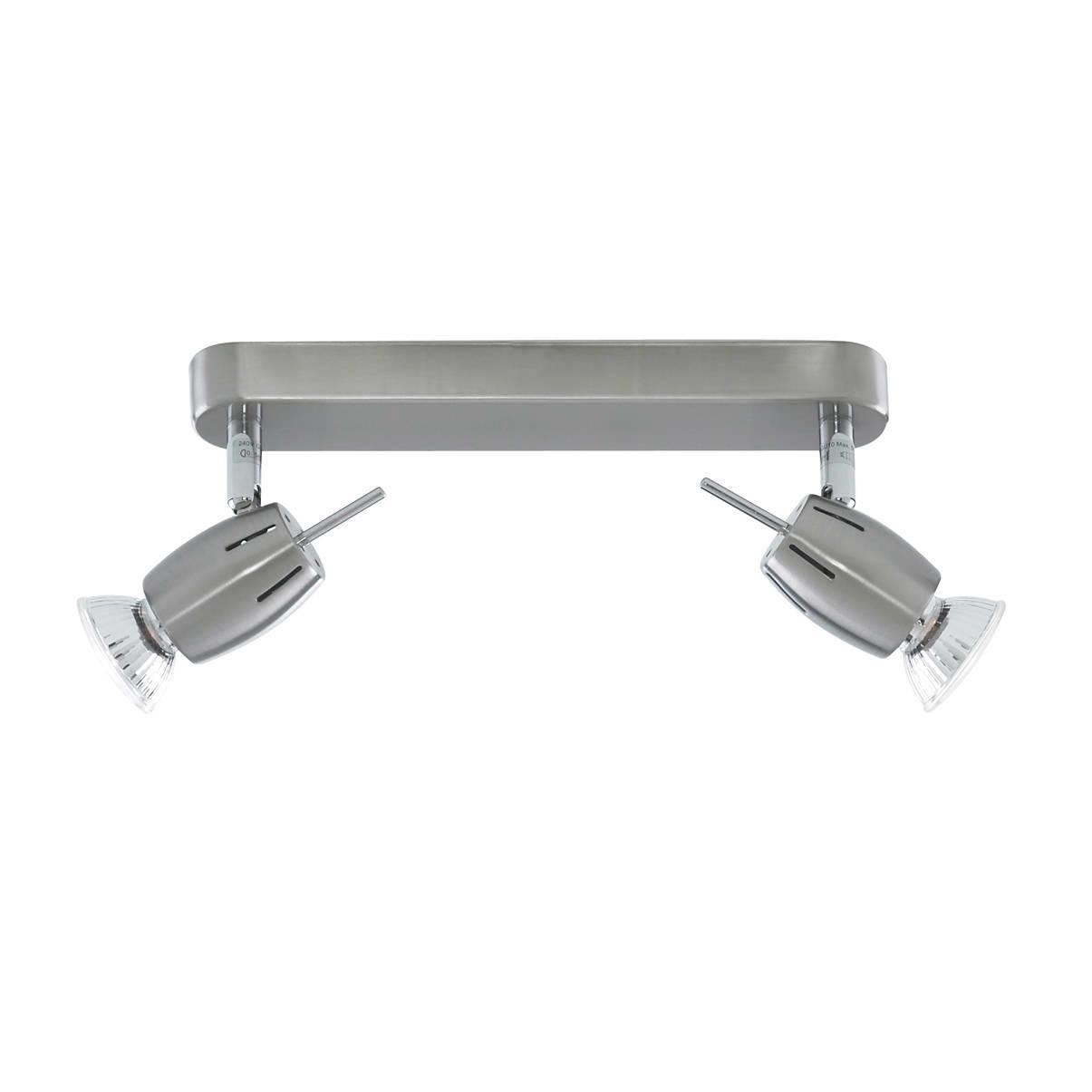 Litecraft Frank 2 Light Adjustable Ceiling Spotlight Plate - Satin Nickel
