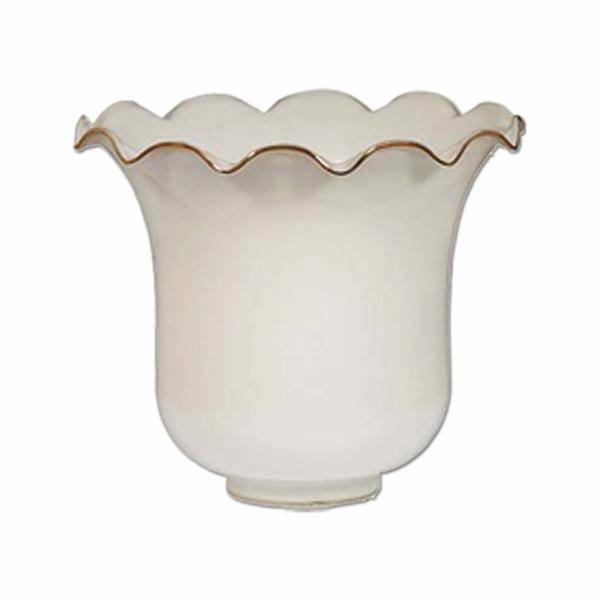 Opal Glass Shade with Brass Lip