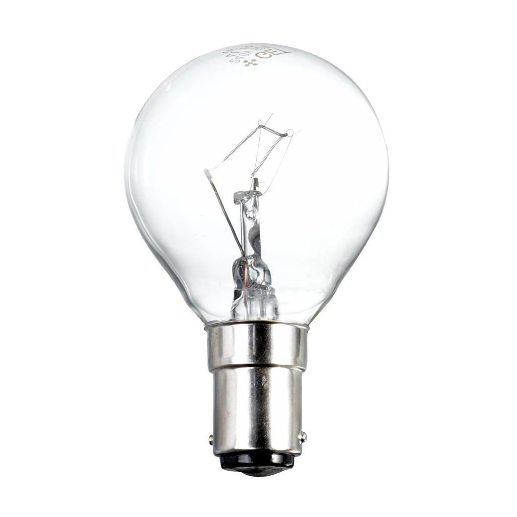 25 Watt B15 Small Bayonet Cap Golf Ball Light Bulb ClearThis 25 watt golf ball light bulb features a B15 cap to fit any Small Bayonet Cap light fittin