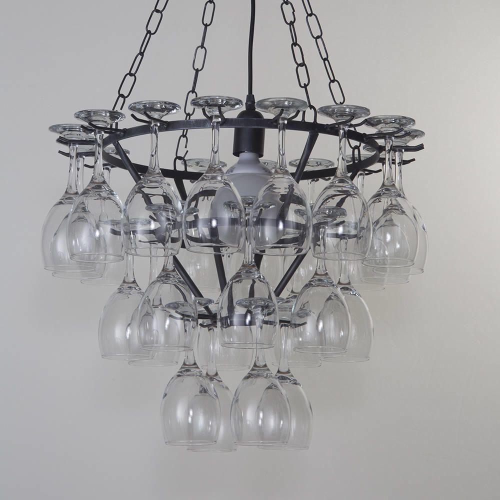 Wine Glass Chandelier 3 Tier Black From Litecraft