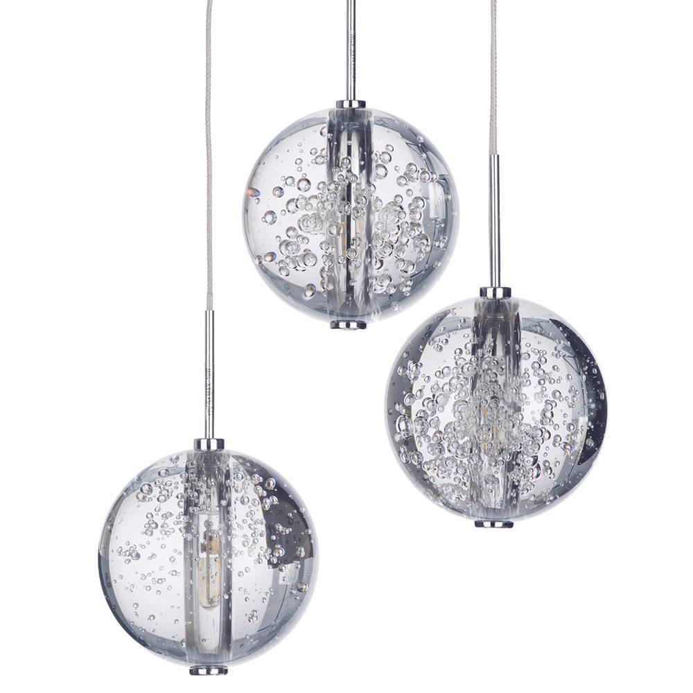 Droplet 3 Light LED Clear Glass Ball Pendant Ceiling Light Steel
