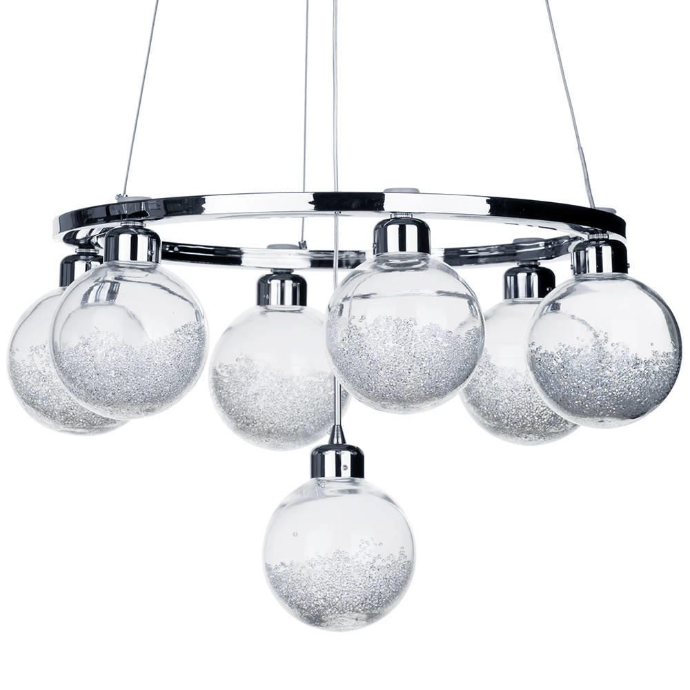 Fontain 7 Light LED Crystal Glass Ball Shade Ceiling