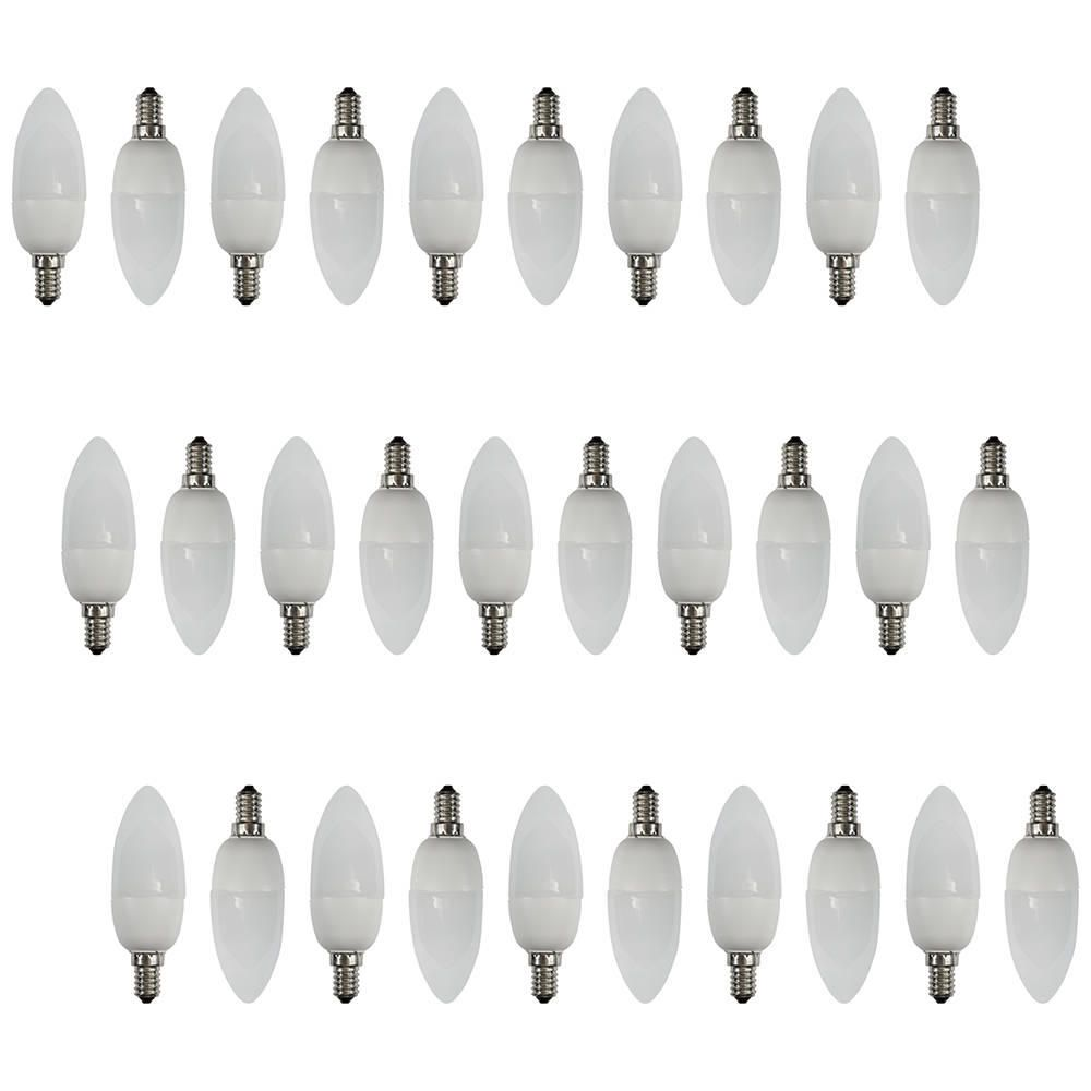 30 Pack of 9 Watt Energy Saving CFL E14 Small Edison Screw Candle Light Bulb  Opal