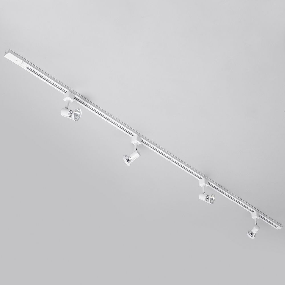 2 metre track lighting with 4 harlem gu10 fixture halogen bulbs white track lights aloadofball Images