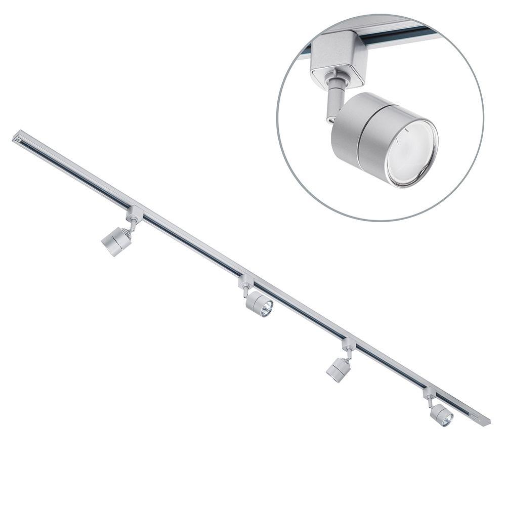 2metre track lighting with 4 soho gu10 fixture led bulbs silver 2metre track lighting with 4 soho gu10 fixture led bulbs silver fastfree delivery aloadofball Images