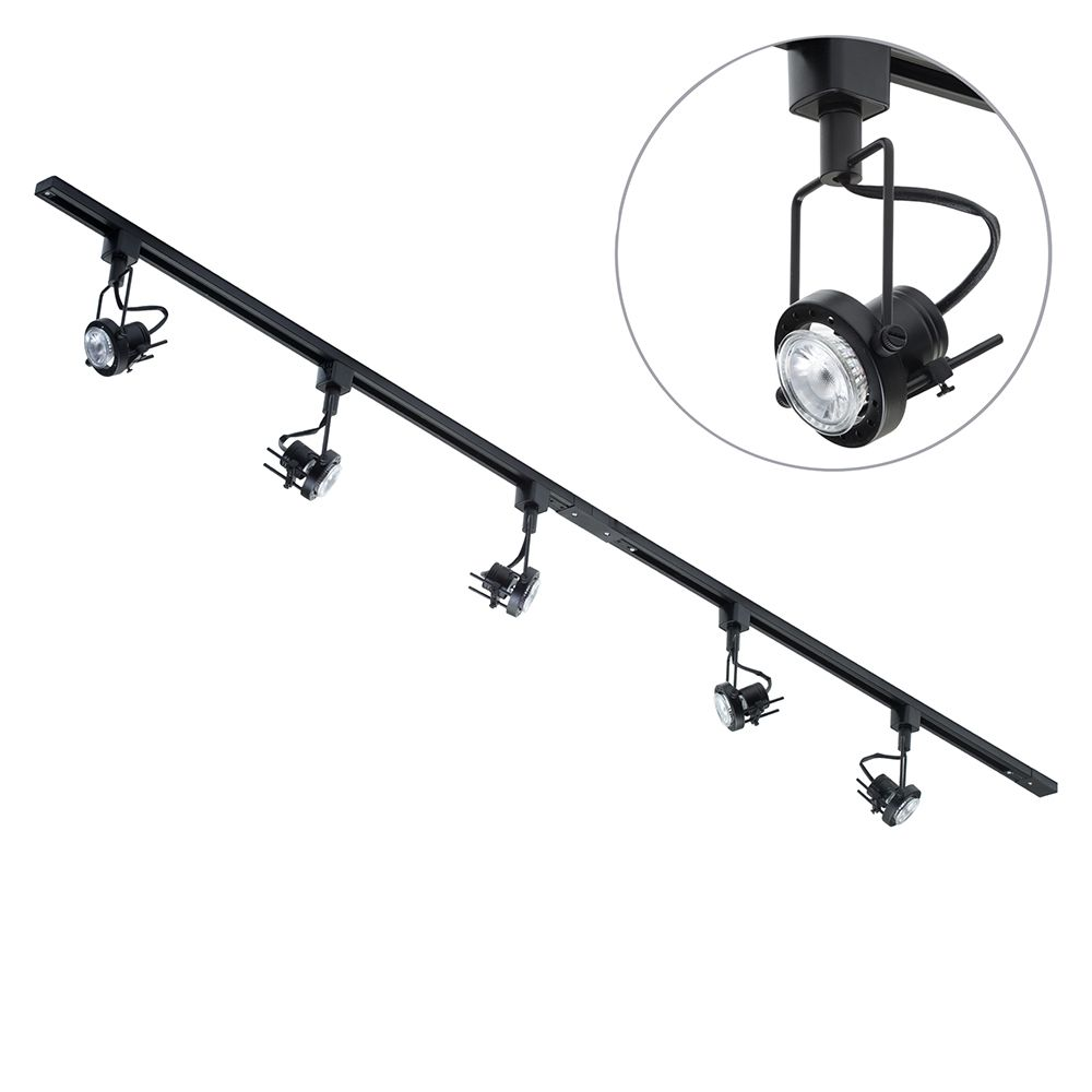 Black Track Lighting Uk: 2 Metre Black Track Lighting & 5 Greenwich Lights & 5 LED