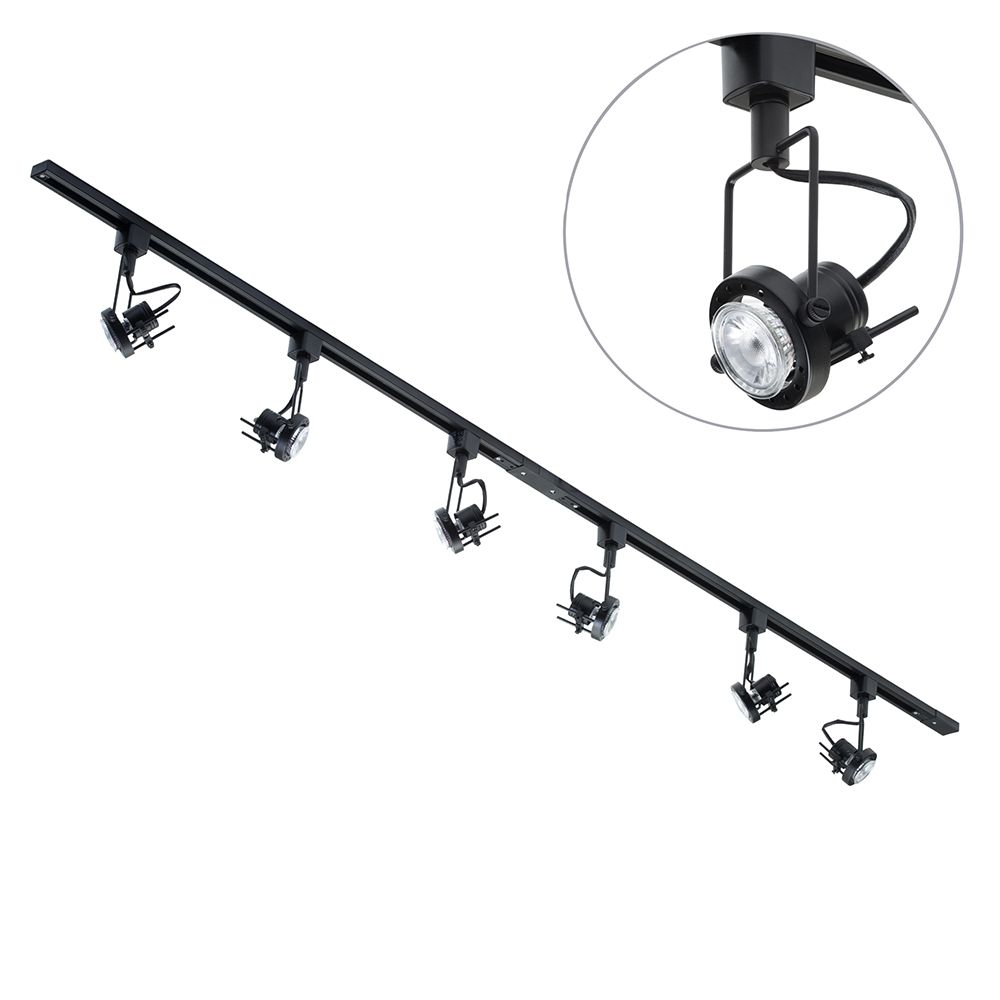 2 metre led track lighting with 6 greenwich gu10 fixture 6 led 2 metre led track lighting with 6 greenwich gu10 fixture 6 led bulbs black fastfree delivery large view black ceiling track lights aloadofball Image collections