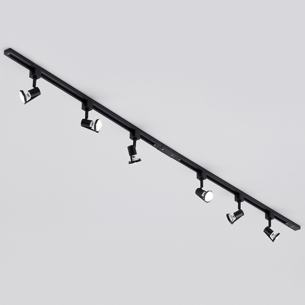 Black Track Lighting Uk: 2 Metre Black Track Lighting & 6 Harlem GU10 Lights & 6